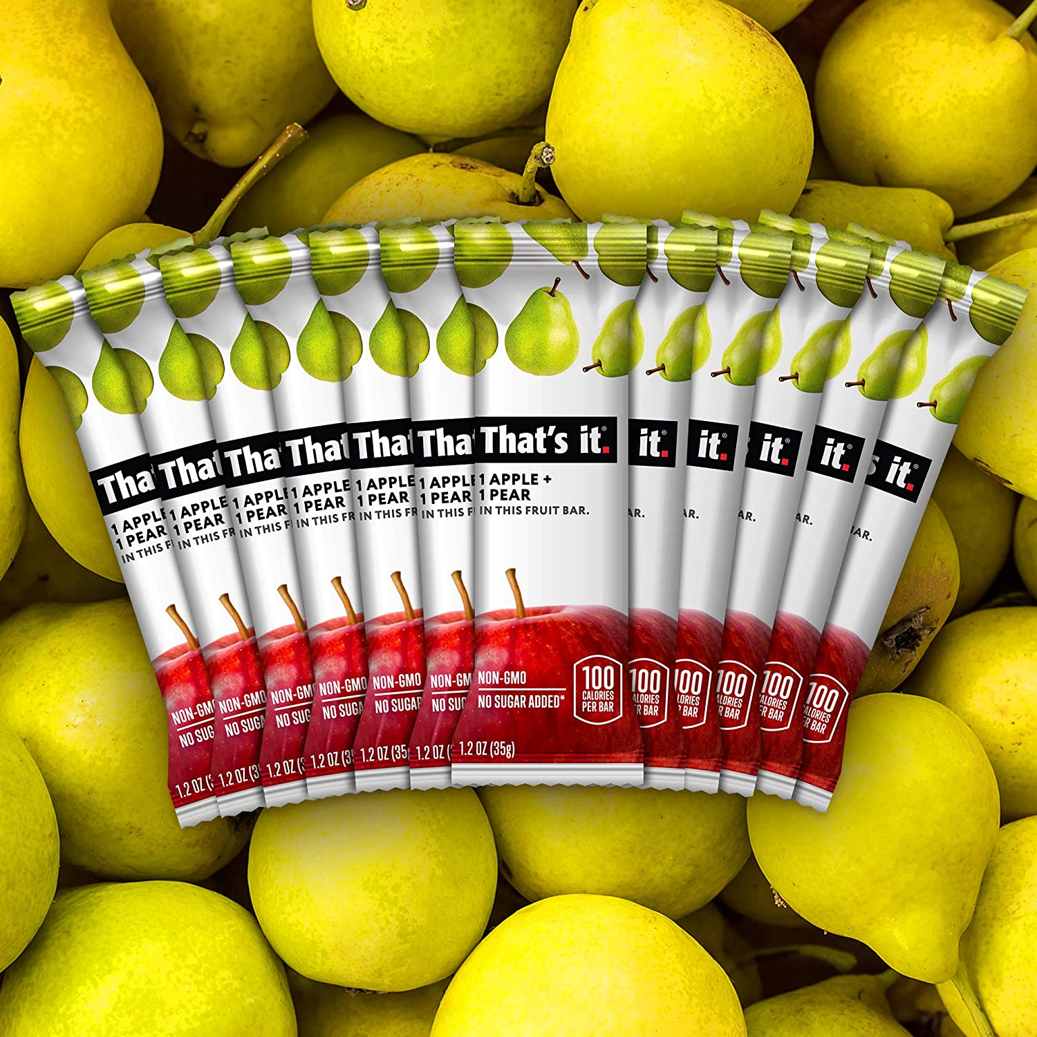 That's it. Apples + Pear 100% Natural Real Fruit Bar, Best High Fiber Vegan, Gluten Free Healthy Snack, Paleo for Children & Adults, Non GMO Sugar-Free, No preservatives Energy Food (Pack of 12)