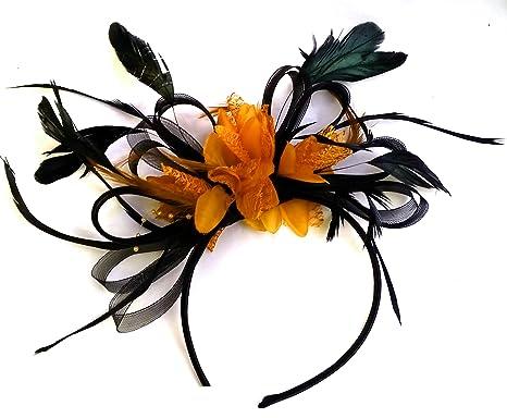 Black and Orange Hair Fascinator Headband Wedding and Royal Ascot ... 14e010768ac