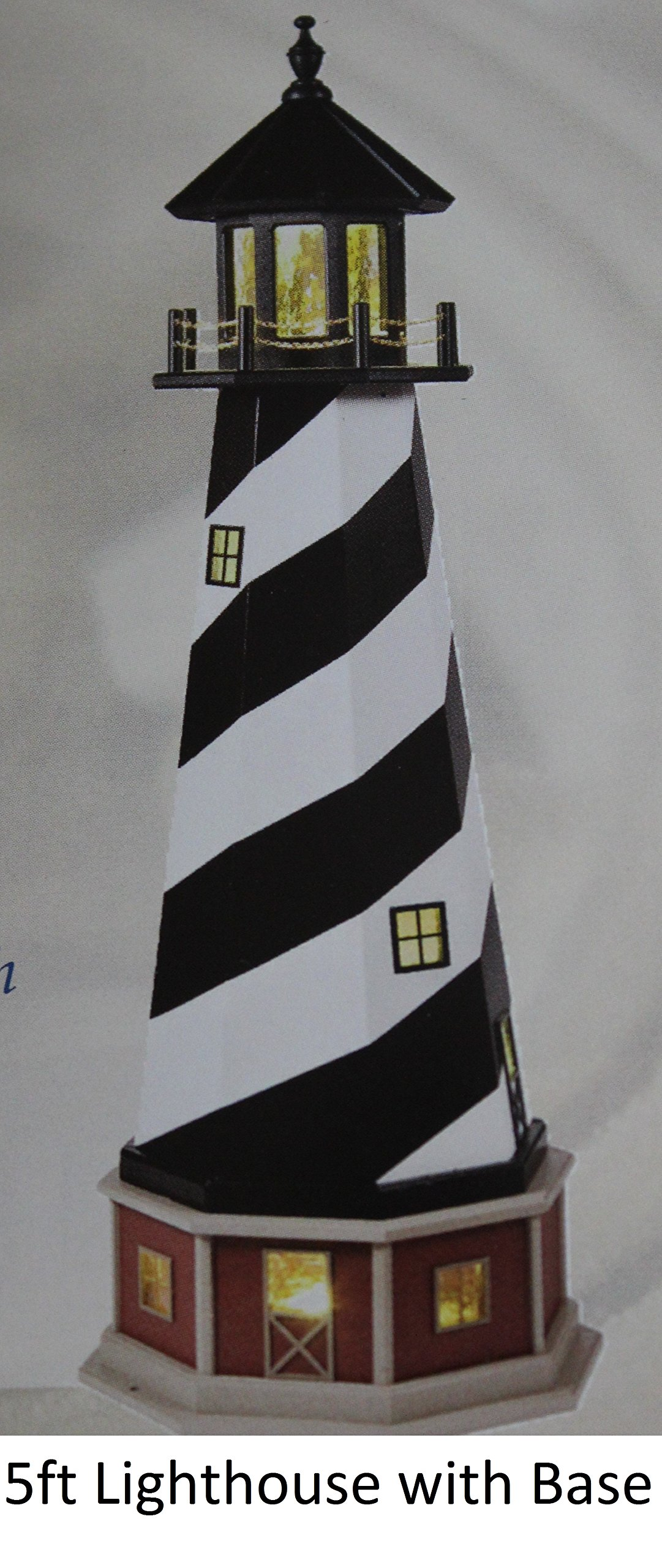 Amish-Made Hybrid (Wood and Poly) Lighthouse with Base - Cape Hatteras, NC Replica, 6' Tall