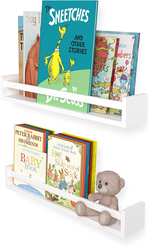 "Wallniture Utah 24"" White Bookshelf for Kids Room Decor, Wall Mounted Wood Floating Shelves Set of 2"