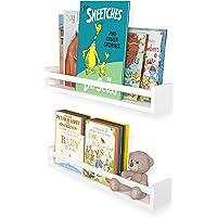 "Wallniture Utah 24"" White Kids Bookshelf for Room Decor, Wall Mounted Wood Floating Shelves Set of 2"