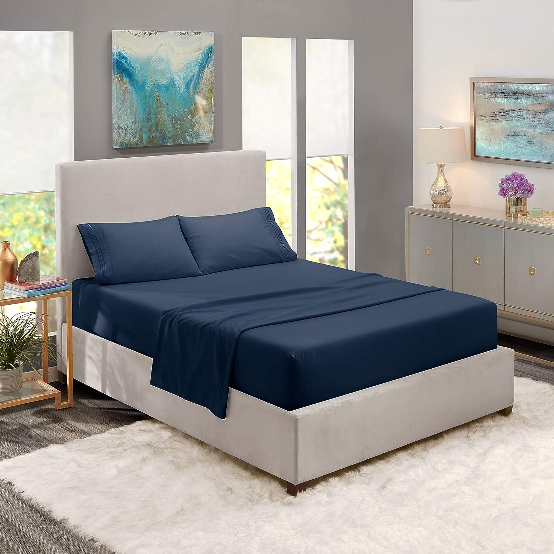 "Nestl Bedding Soft Sheets Set – 4 Piece Bed Sheet Set, 3-Line Design Pillowcases – Easy Care, Wrinkle – 10""–16"" Deep Pocket Fitted Sheets – Warranty Included – Flex-Top King, Navy Blue"