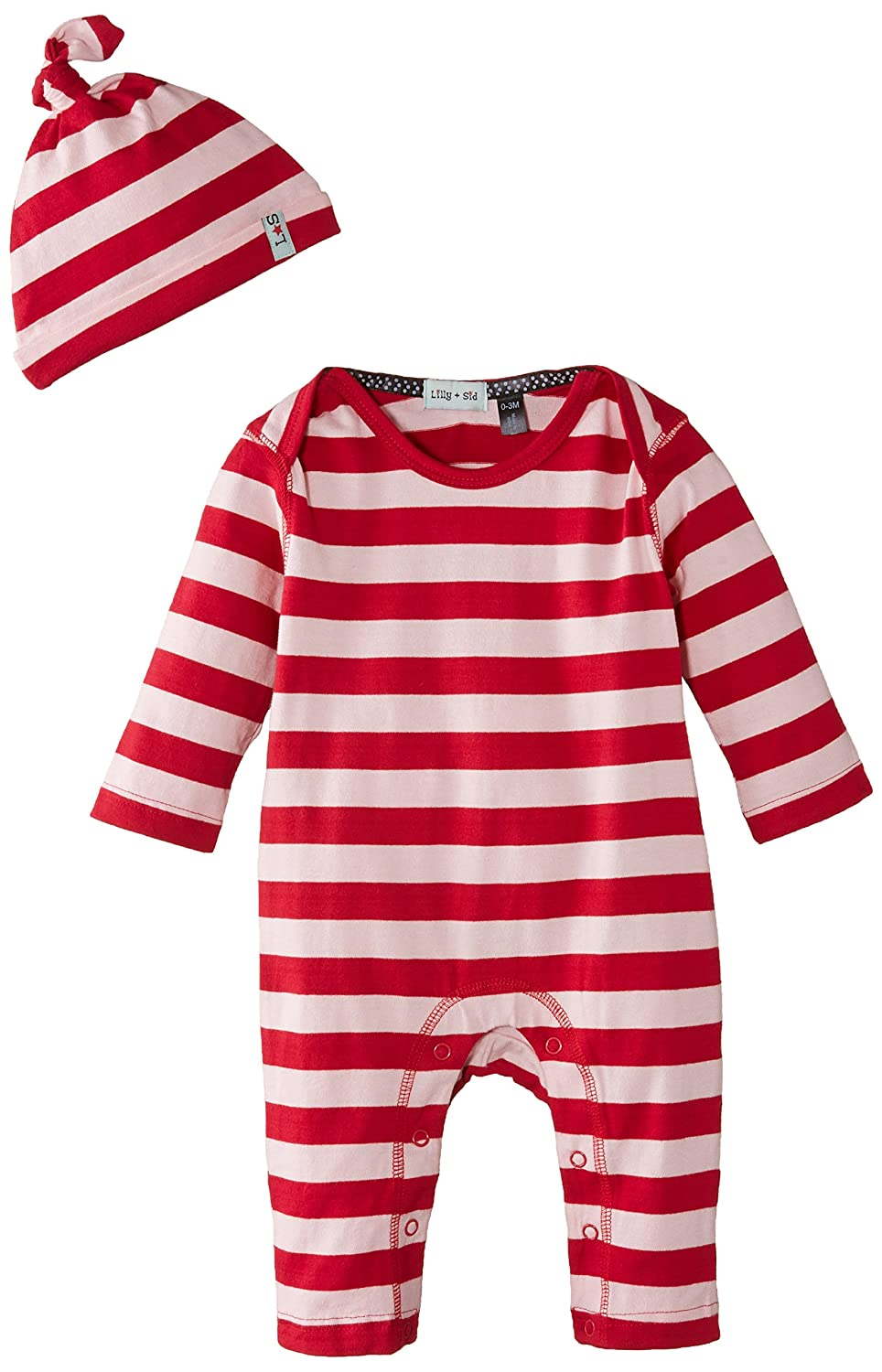 Lilly /& Sid Baby-Girls Stripey Playsuit and Hat with Gift Box Romper