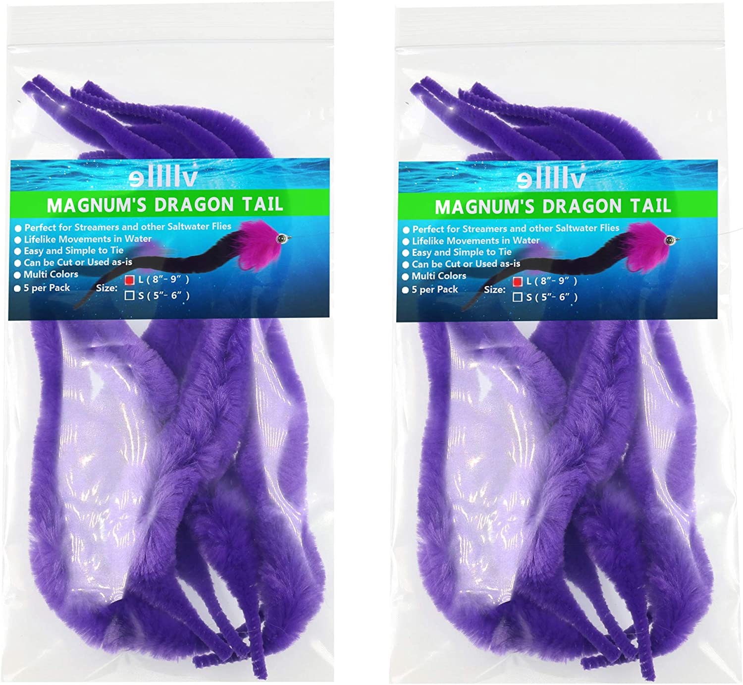 wifreo 2Packs Mangums Dragon Tail Chenille for Fly Tying Pike Streamer and Other Saltwater Flies Tying