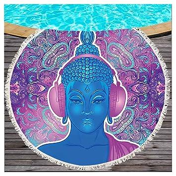 Toalla de playa lanzar redondos con borlas Buda Yoga Chakra Meditación Impresión playa manta Budismo indio mandala Beach roundie suave Flecos playa Wrap ...
