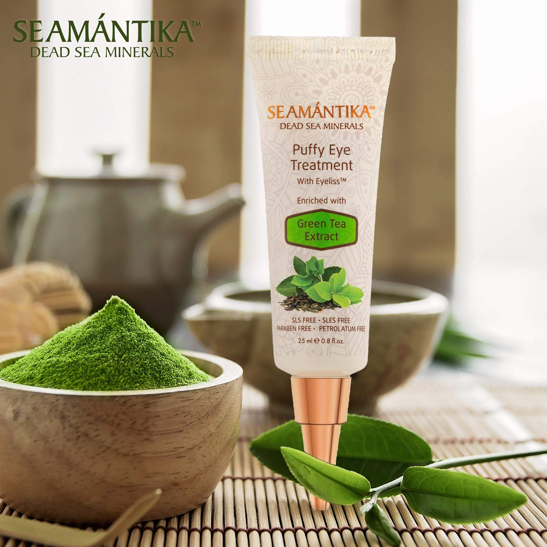 Puffy Eye Treatment Instant results – Naturally Eliminate Wrinkles, Puffiness, Dark Circle and Bags in Minutes – Hydrating Eye Cream w/Green Tea Extract, Dead Sea Minerals by SEAMANTIKA – .8 oz by SEAMANTIKA (Image #9)