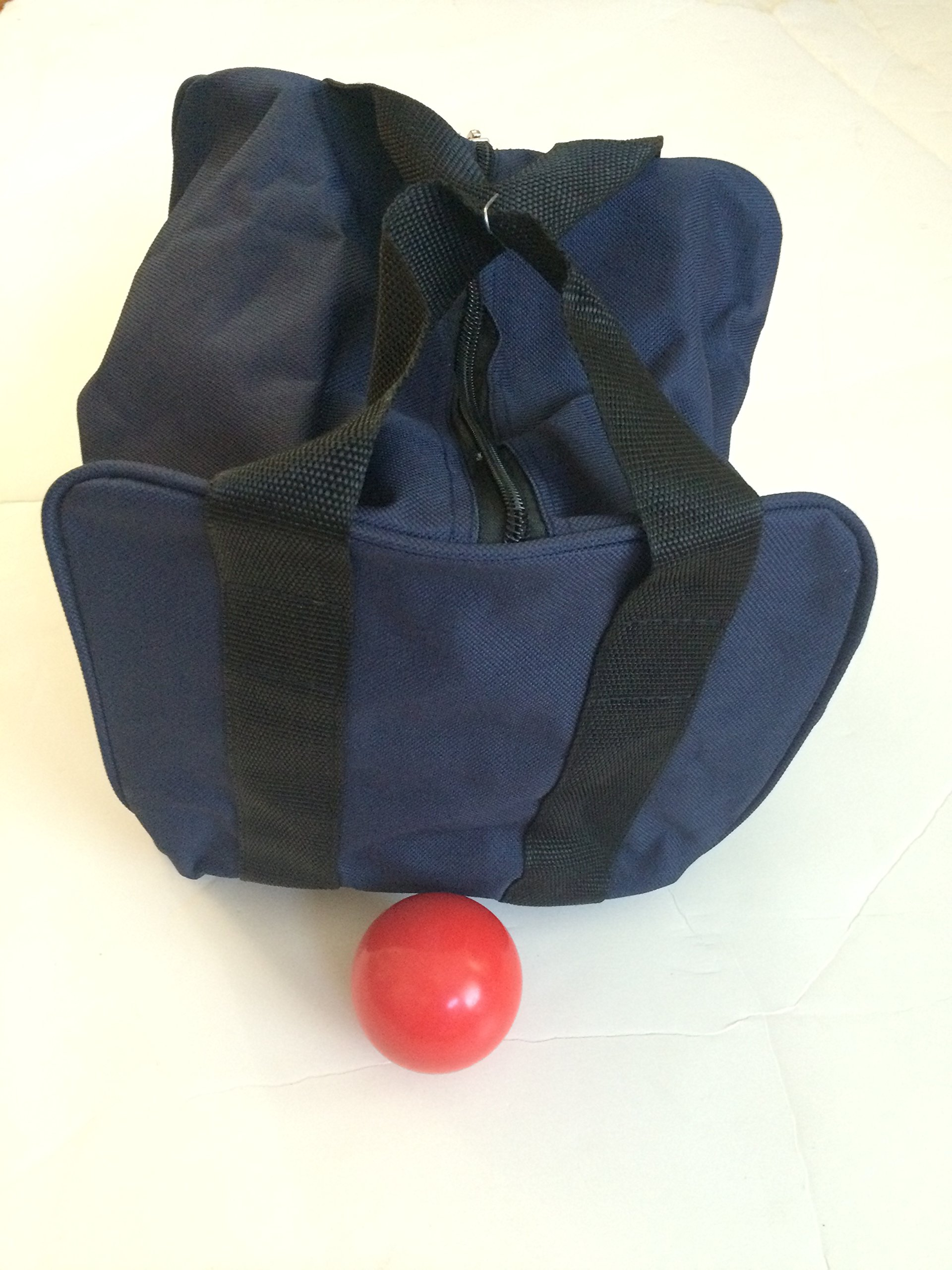 Unique Bocce Accessories Package - Extra Heavy Duty Nylon Bocce Bag (Blue with Black Handles) and Red pallina by BuyBocceBalls
