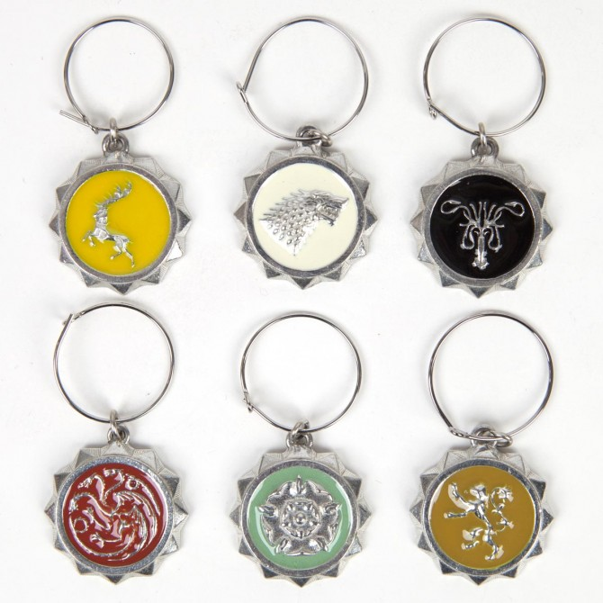 Set of 6 Game of Thrones Sigil Wine Charms | HBO Shop