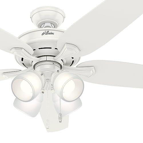 Hunter Fan 60 in. Fresh White Ceiling Fan with 4 LED Lights Renewed
