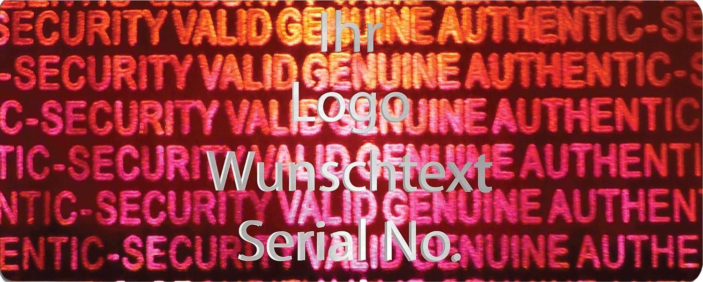 EtikettenWorld BV, EW-H-2400-14-tsi-1000, 1000 Stück Hologrammaufkleber, 2D, 10x40mm rotfarbige Metallfolie, bedruckt in silber-glänzend mit Ihrem Wunschtext Logo, Hologramm Etiketten, selbstklebend, Hologramm Aufkleber, Sicherheitssiegel, Garan