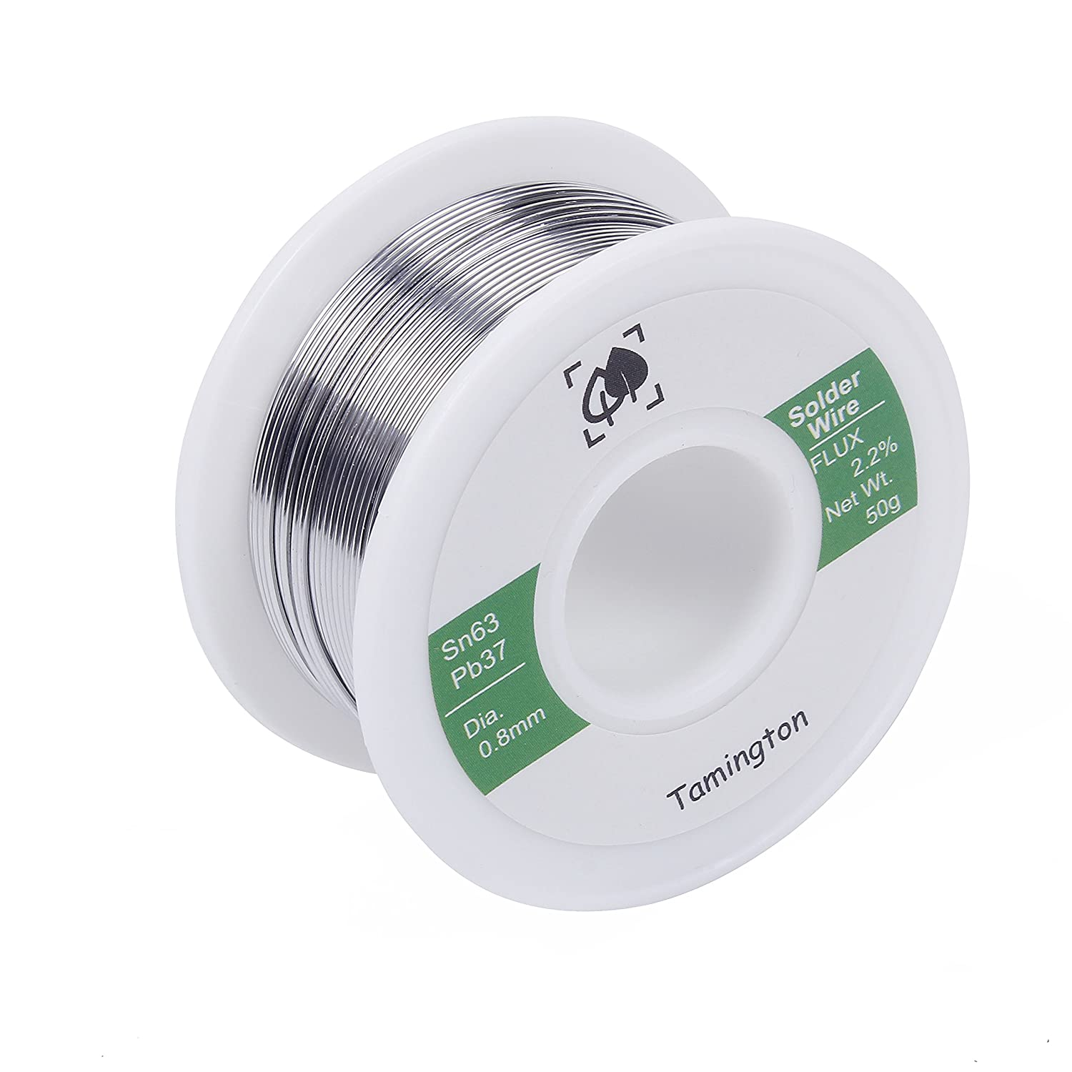 Solder Wire Sn63 Pb37 with Rosin Core for Electrical Soldering 50g 0.8 mm by TAMINGTON