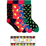 Novelty Gift Box Set of 4 Funny Socks for Men, Funky, Groovy, Crazy and Silly in Bright Colours and Fun Graphic Patterns - Great Father's Day, Birthday, Christmas - Stylish Retro Box
