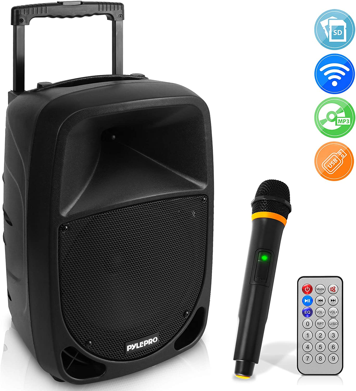 Pyle 1000W Portable Bluetooth PA Speaker - 10'' Karaoke Speaker System with UHF Wireless Microphone, Remote Control & Built-in Rechargeable Battery, MP3/USB/SD, LED Battery Indicator Lights - PSBT105A