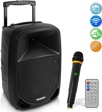 Wireless Microphone Karaoke Pyle Compact /& Portable Bluetooth PA Speaker