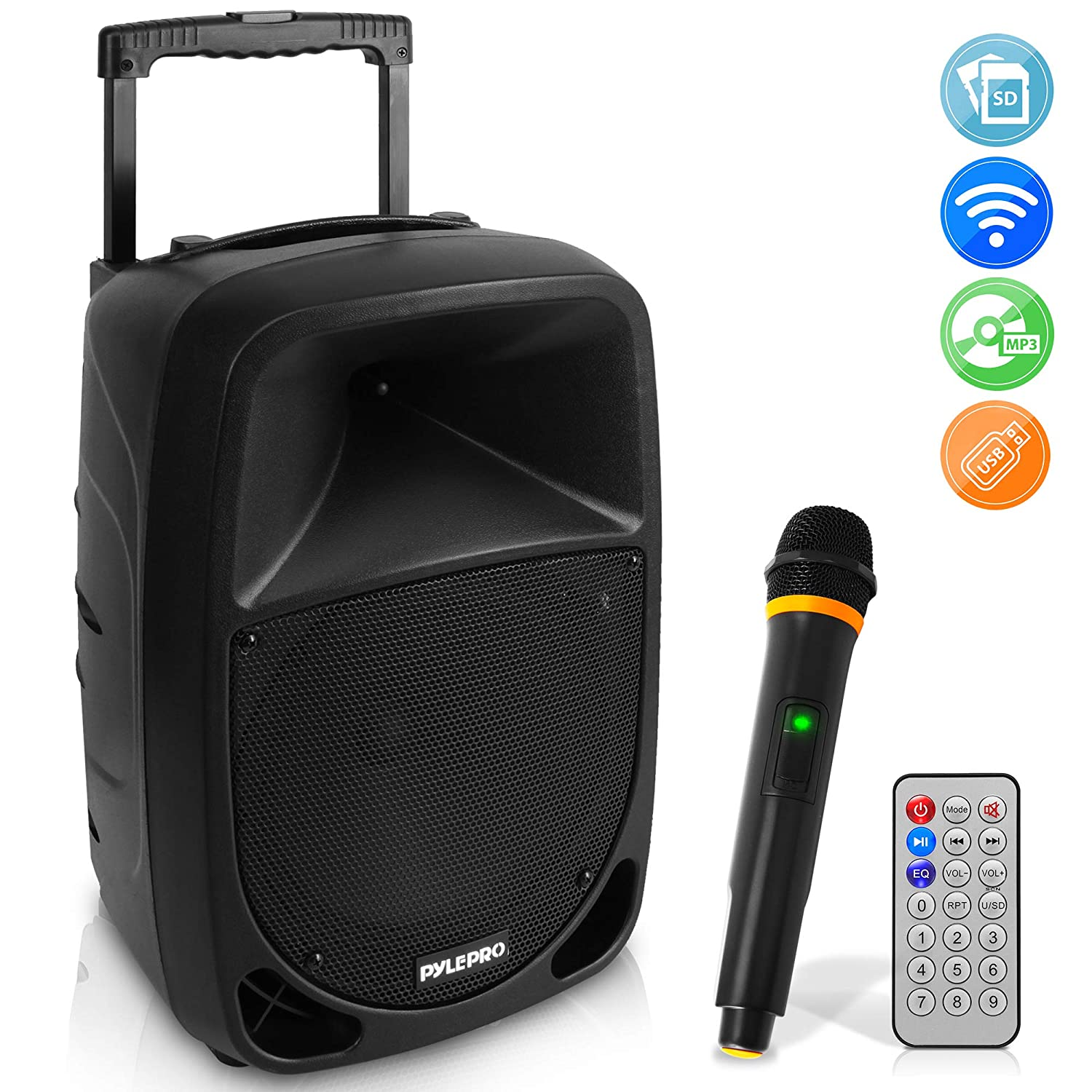 1000W Portable Bluetooth PA Speaker - 10'' Karaoke Speaker System with UHF Wireless Microphone, Remote Control & Built-In Rechargeable Battery, MP3/USB/SD, LED Battery Indicator Lights - Pyle PSBT105A 81HRMoYL31L