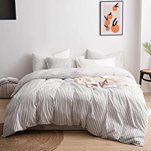 JIYUAN Washed Cotton Duvet Cover Set Ticking Stripes Bedding 3 Pieces(1 Duvet Cover + 2 Pillow Shams), Soft Comfy, Simple Style(Queen, White & Black Stripes)