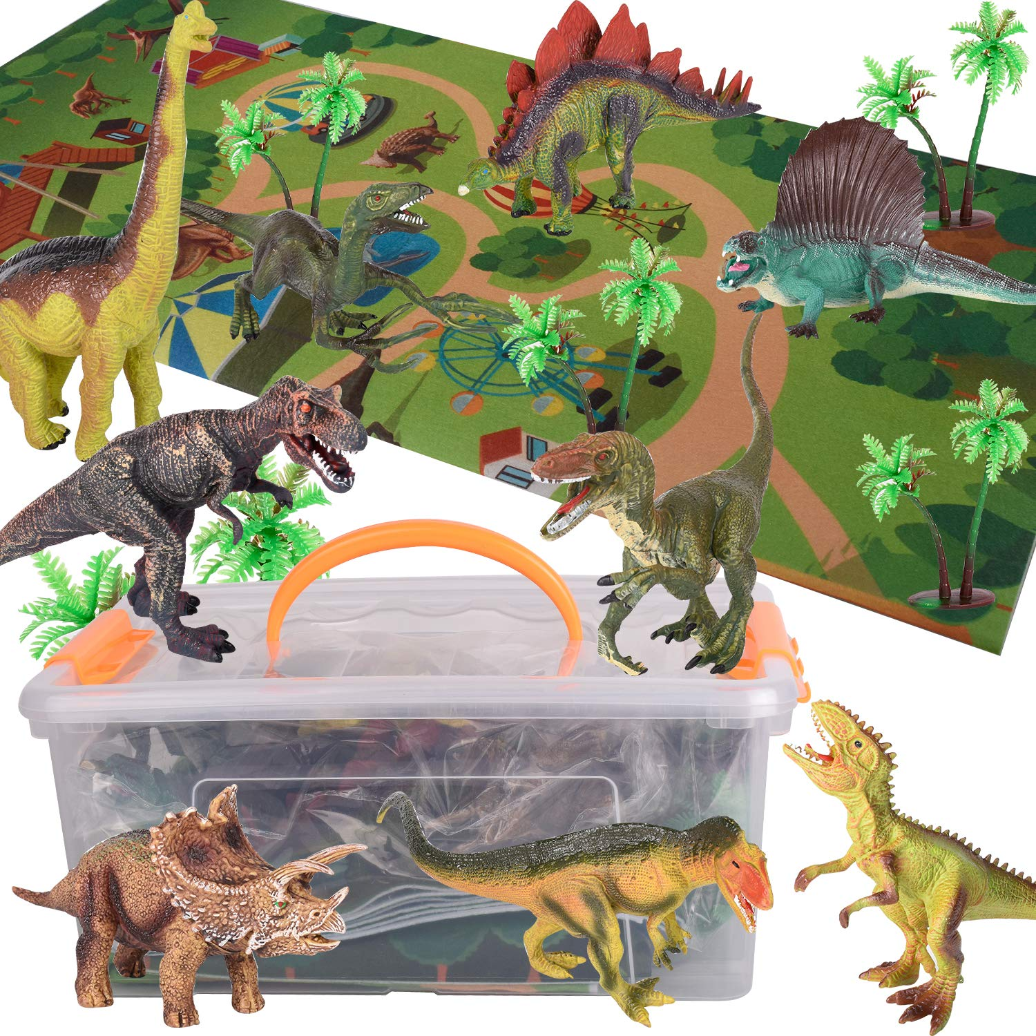 for Kids 12 Pieces Dinosaur Toy Set with Activity Play Mat,Dinosaur World Models Playset Including T-Rex Triceratops Velociraptor Boys /& Girls