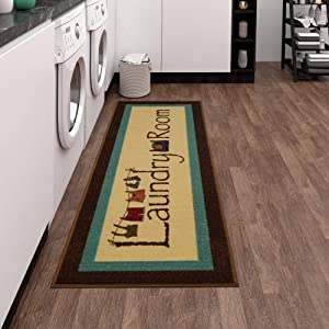 "Ottomanson Laundry Collection Area Rug, 20""X59"", Brown Bordered"