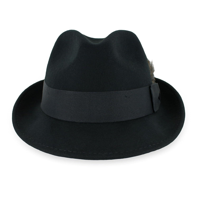 36d1870025b3c Belfry Trilby Men Women Snap Brim Vintage Style Dress Fedora Hat 100% Pure  Wool Felt in Black