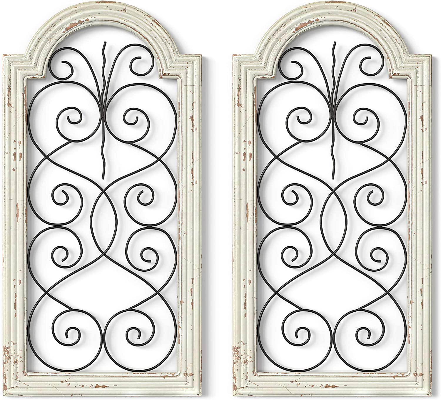 Barnyard Designs Rustic Wood and Metal Wall Decor, Large Decorative Wrought Iron Scroll Wall Art, Vintage Farmhouse Home Decor, 16