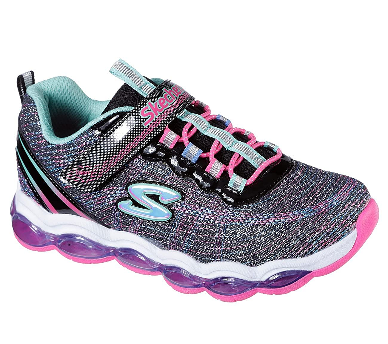 4.5 Black//Multi Glimmer Lites Sneakers Skechers 10833L Girls S Lights