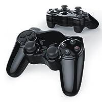 CSL - 2 x Wireless Gamepad für Playstation 2 / PS2 mit Dual Vibration - Joypad Controller | neues Modell | schwarz
