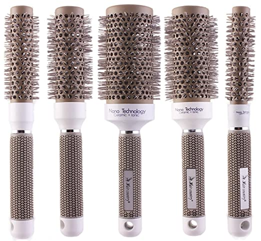 Round Thermal Brush Set, Professional Nano Ceramic & Ionic Barrel Hair Styling Blow Drying Curling Brush, 5 Different Sizes