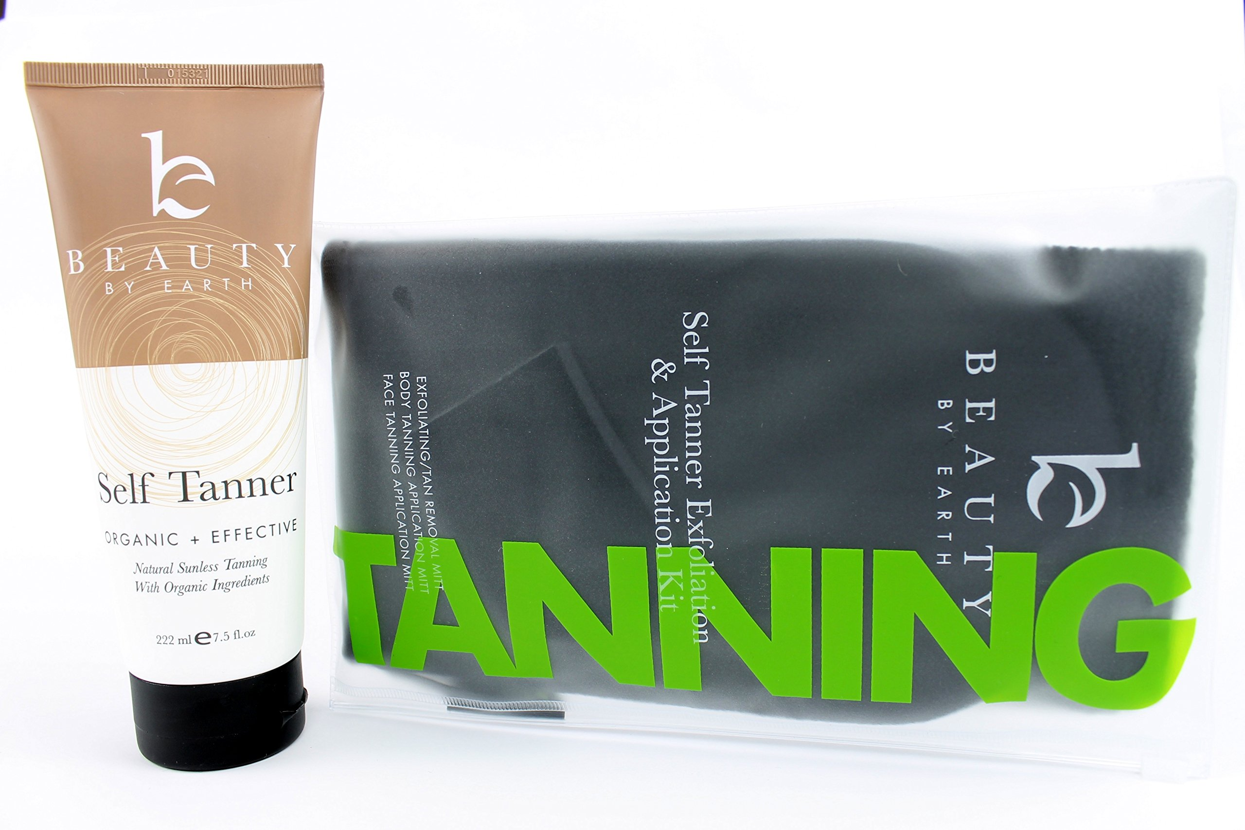 Self Tanner & Tanning Application Kit - Bundle of Sunless Tanning Lotion Made With Natural & Organic Ingredients, Exfoliation Mitt, Body and Face Applicator Glove for a Professional Self Tan by Beauty by Earth (Image #5)
