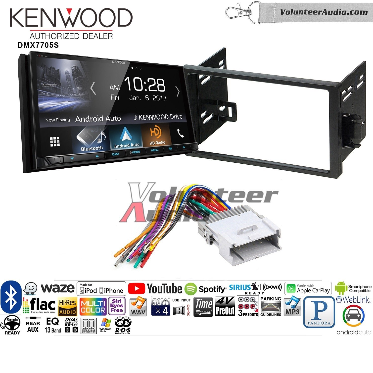 Volunteer Audio Kenwood DMX7705S Double Din Radio Install Kit with Apple CarPlay Android Auto Bluetooth Fits 2007-2011 Chevrolet Aveo