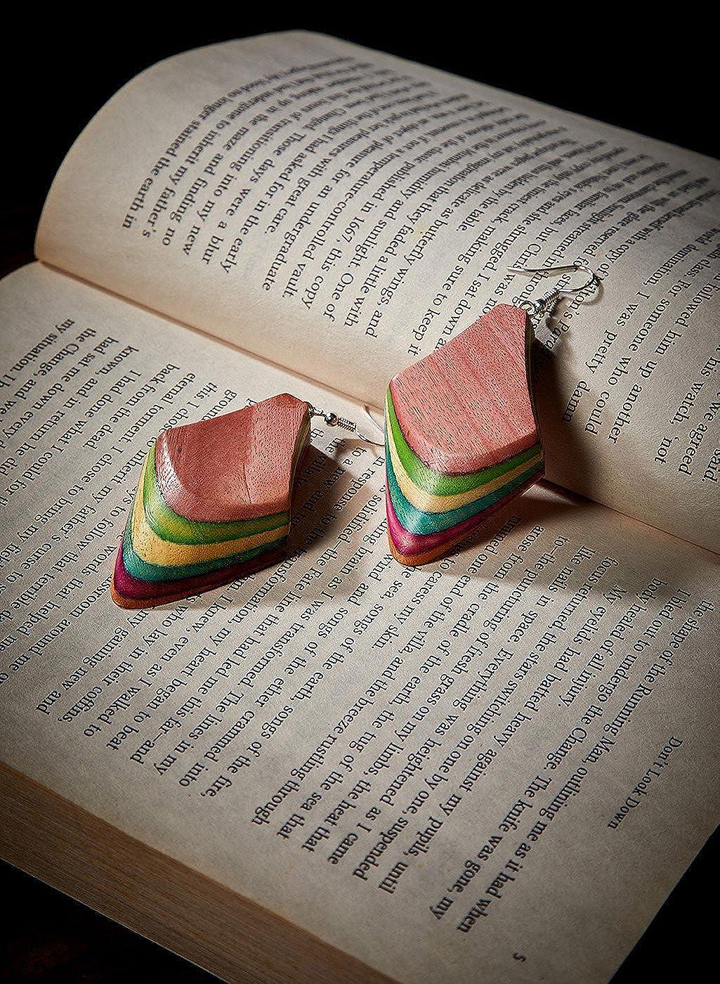 ZeroKaata Fashion Jewellery Drop Shaped Multicolored Wooden Handmade Jewellery Earrings For Girls and Women
