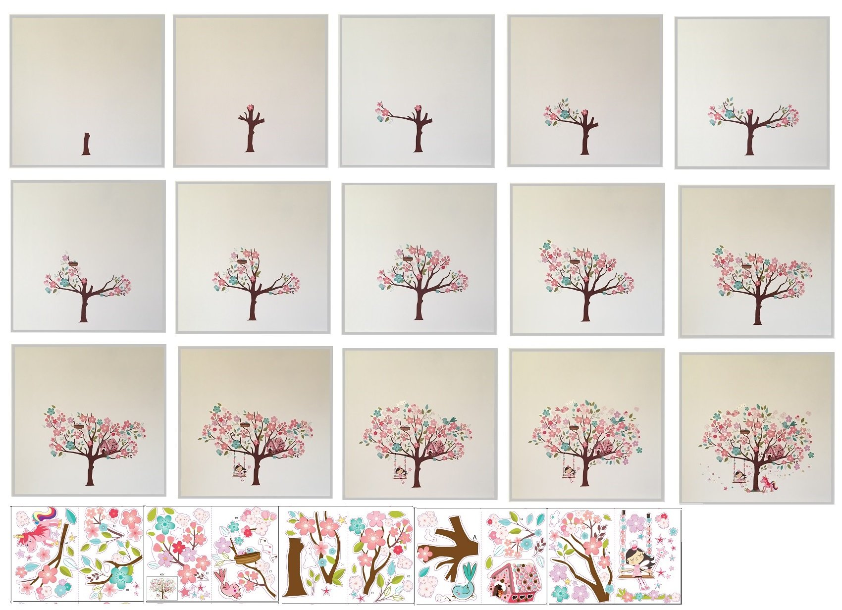 Kath & Cath Rainbow Unicorn, Pink Fairy, Gingerbread House, Singing Birds and Cherry Blossoms Tree Wall Stickers -Kids… 9