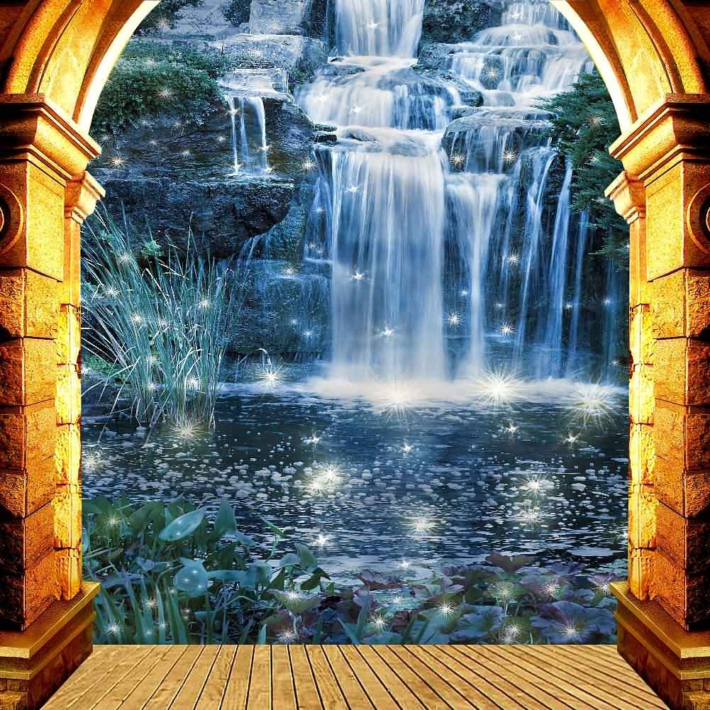 GladsBuy Nice Waterfall 10' x 10' Digital Printed Photography Backdrop Arches or Pillars Theme Background YHA-355