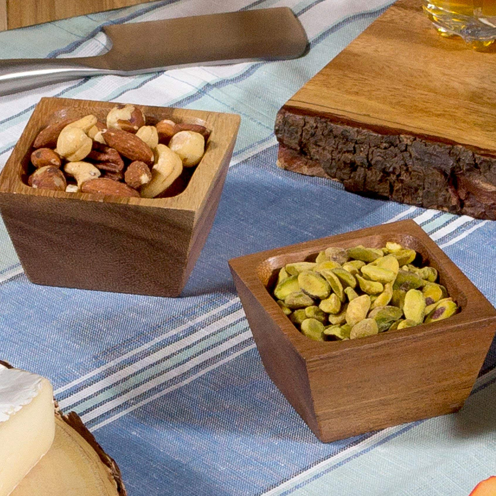 Lipper International 1100-2 Acacia Wood Square Salt Pinch or Serving Bowls, 3'' x 3'' x 2-1/2'', Set of 2 by Lipper International (Image #5)