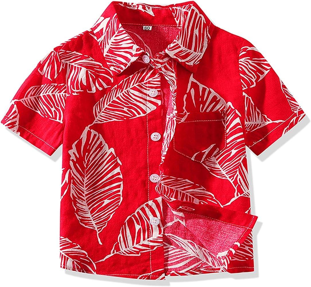 9ef5768565 Amazon.com: Boy's Classic Hibiscus Hawaiian Aloha Shirt Red Print ...