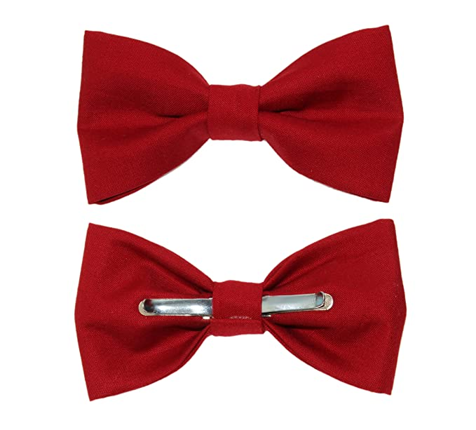 3165e9370dca Image Unavailable. Image not available for. Color: Men's Ruby Red Clip On  Cotton Bow Tie