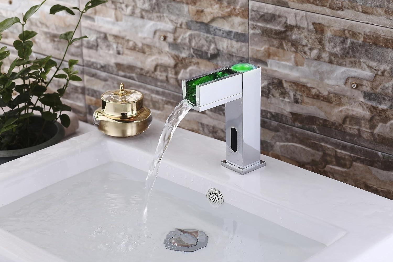 Led A Gangang Hands Free LED Automatic Sensor Faucet Cold and Hot Single Handle Bathroom