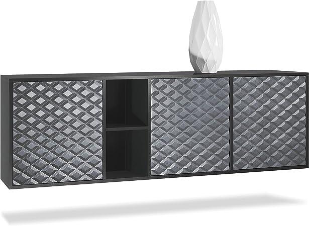 Kommode BLADE Sideboard Highboard 3D schwarz Hochglanz LED