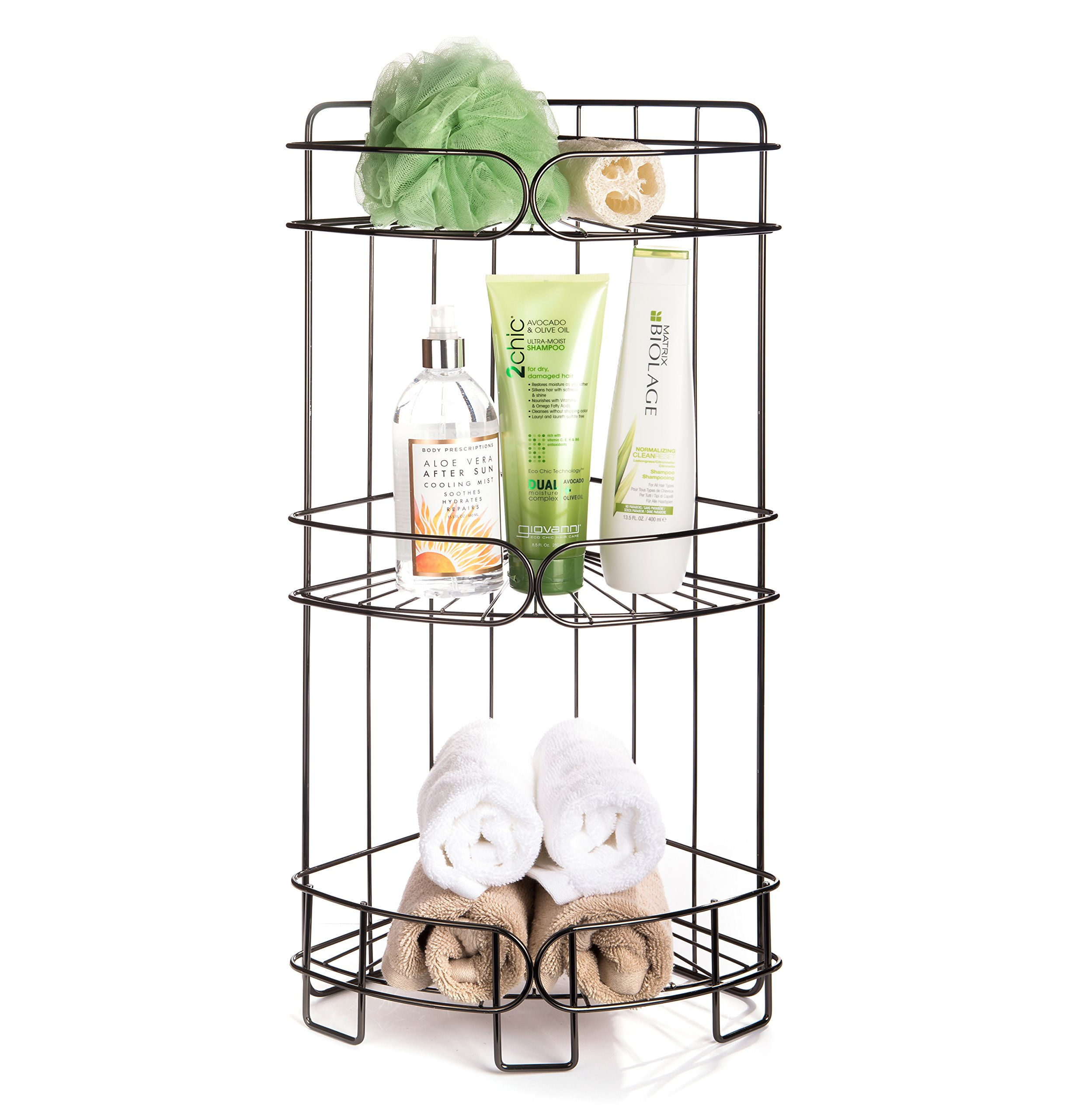 AMG and Enchante Accessories Free Standing Bathroom Spa Tower Storage Caddy, FC100004 BKN, Black Nickel