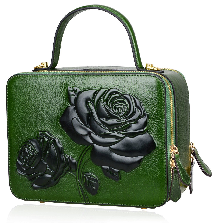 PIJUSHI Women's Designer Rose Top Handle Satchel Cross Body Handbags 65440 (One Size, New Green)