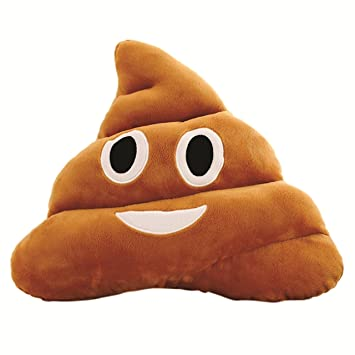 Skylofts Soft Smiley Emoji Dark Brown 33cm Poop Cushion Pillow Stuffed Plush Toy Doll (Happy)