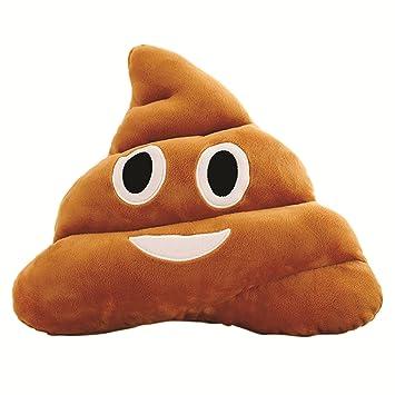 Skylofts Soft Smiley Emoji Dark Brown 33cm Poop Cushion Pillow Stuffed Plush Toy Doll (Happy)