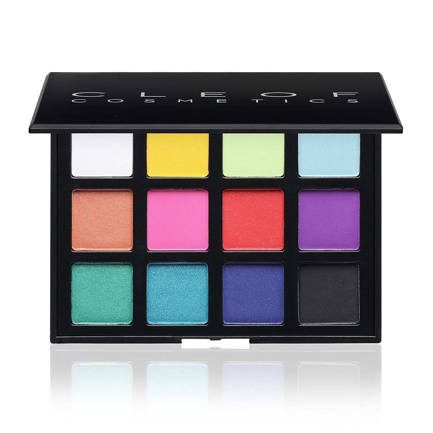 Professional Eyeshadow Palette Makeup- 12 Colors- Highly Pigmented Bright and Bold Colorful Matte & Shimmer Shades By Cleof Cosmetics