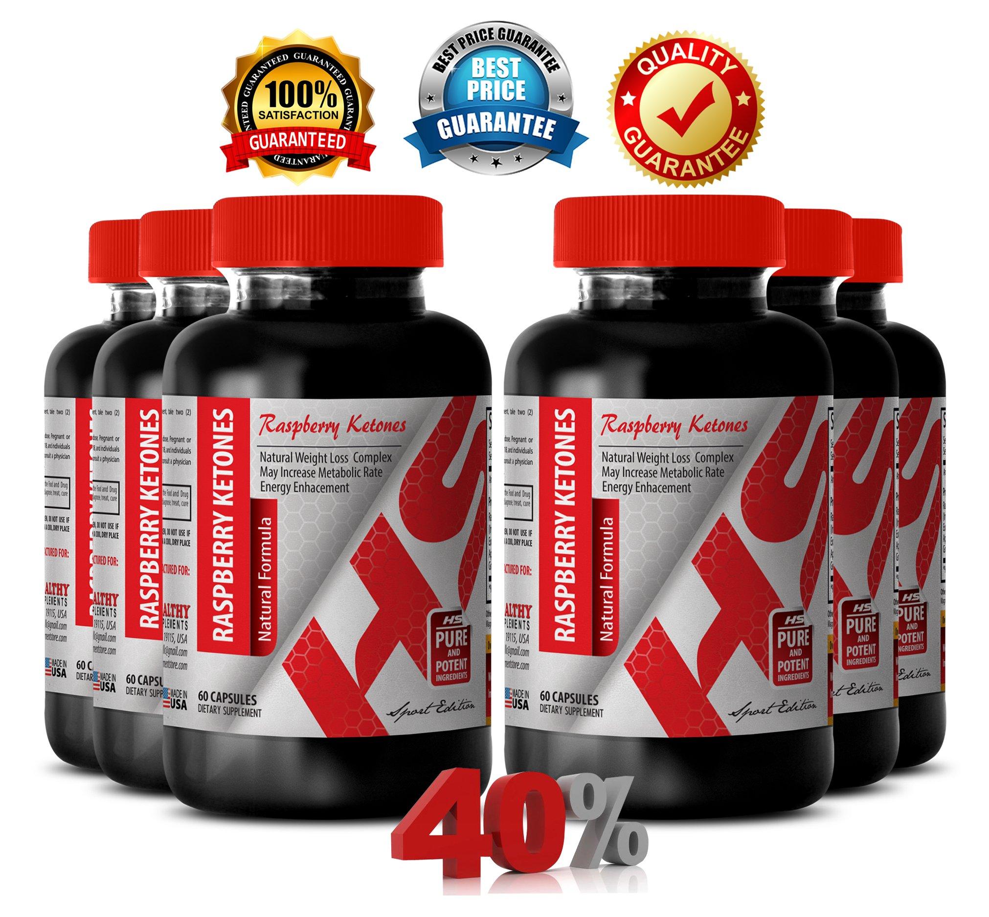 Raspberry ketones extract - RASPBERRY KETONES NATURAL FORMULA 1200 MG - improve eye vision (6 Bottles) by Healthy Supplements LLC