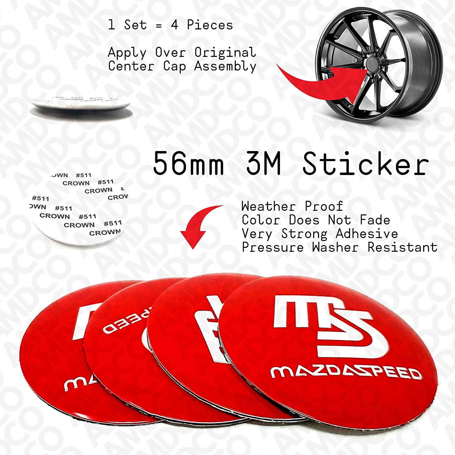 AMD 56MM RED pack of 4 56MM RED Emblem Badge Stickers Decals with Strong 3M Includes instructions MEASURE Before Purchase Fitment Top Quality fit For SPEED 3 CX 5 6 etc