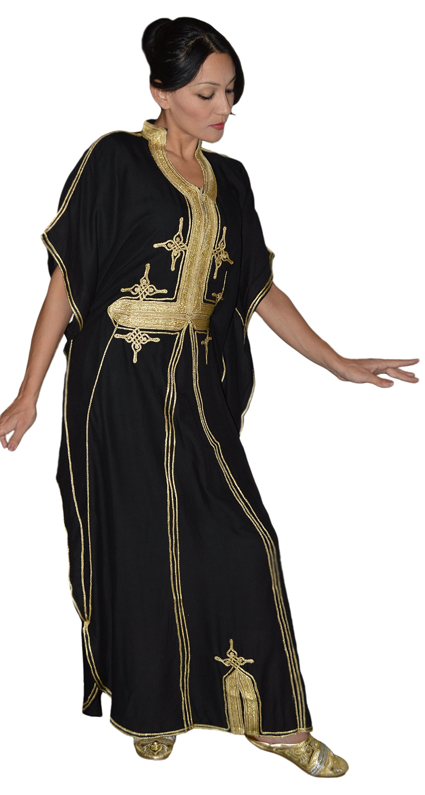 Moroccan Caftan Hand Made Breathable Cotton with Gold Hand Embroidery Long Black by Moroccan Caftans (Image #6)