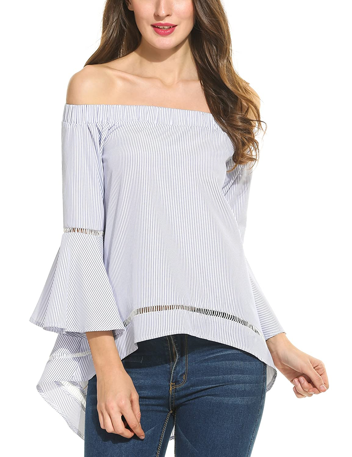 f0f9d1c360cb32 ANGVNS Women Casual Cute Summer Off Shoulder Loose Shirts Baggy Beach Blouse  at Amazon Women s Clothing store