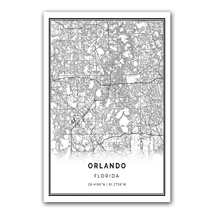 Amazon Com Orlando Map Poster Print Modern Black And White Wall
