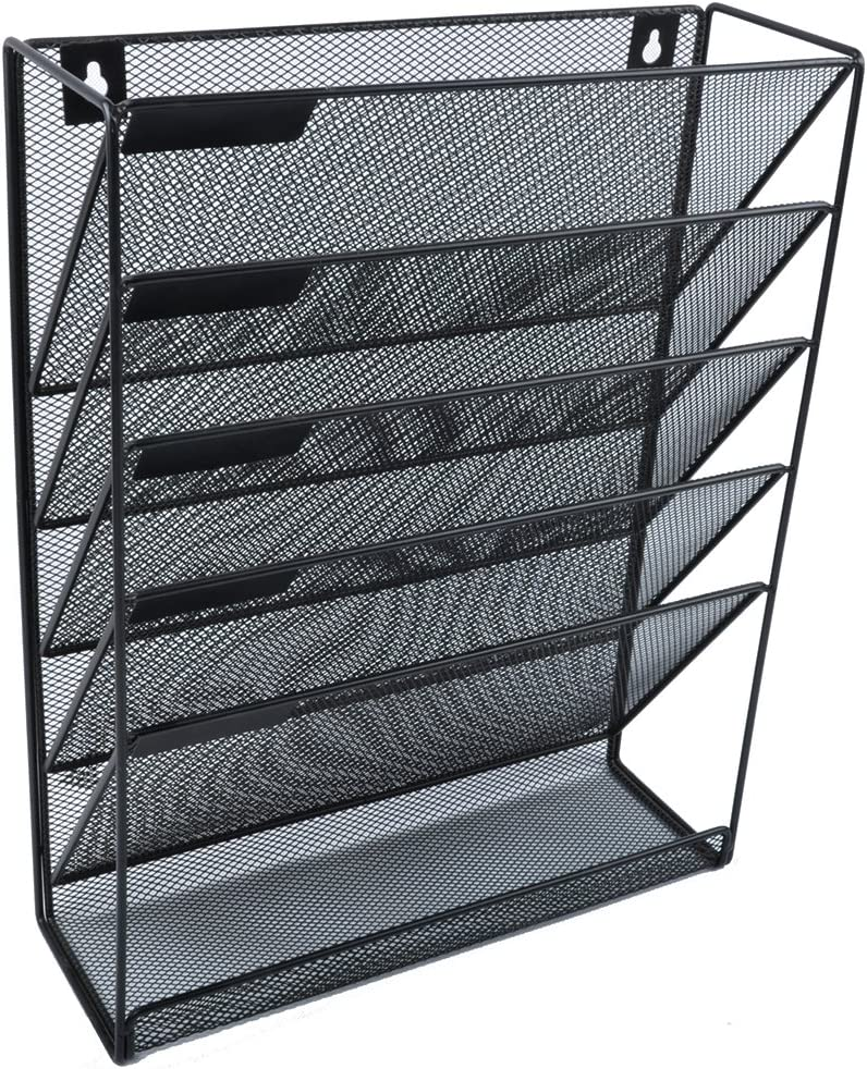 Easepres File Organizer Mesh 50-Tier Black Hanging File Organizer Vertical  Holder Rack for Office Home