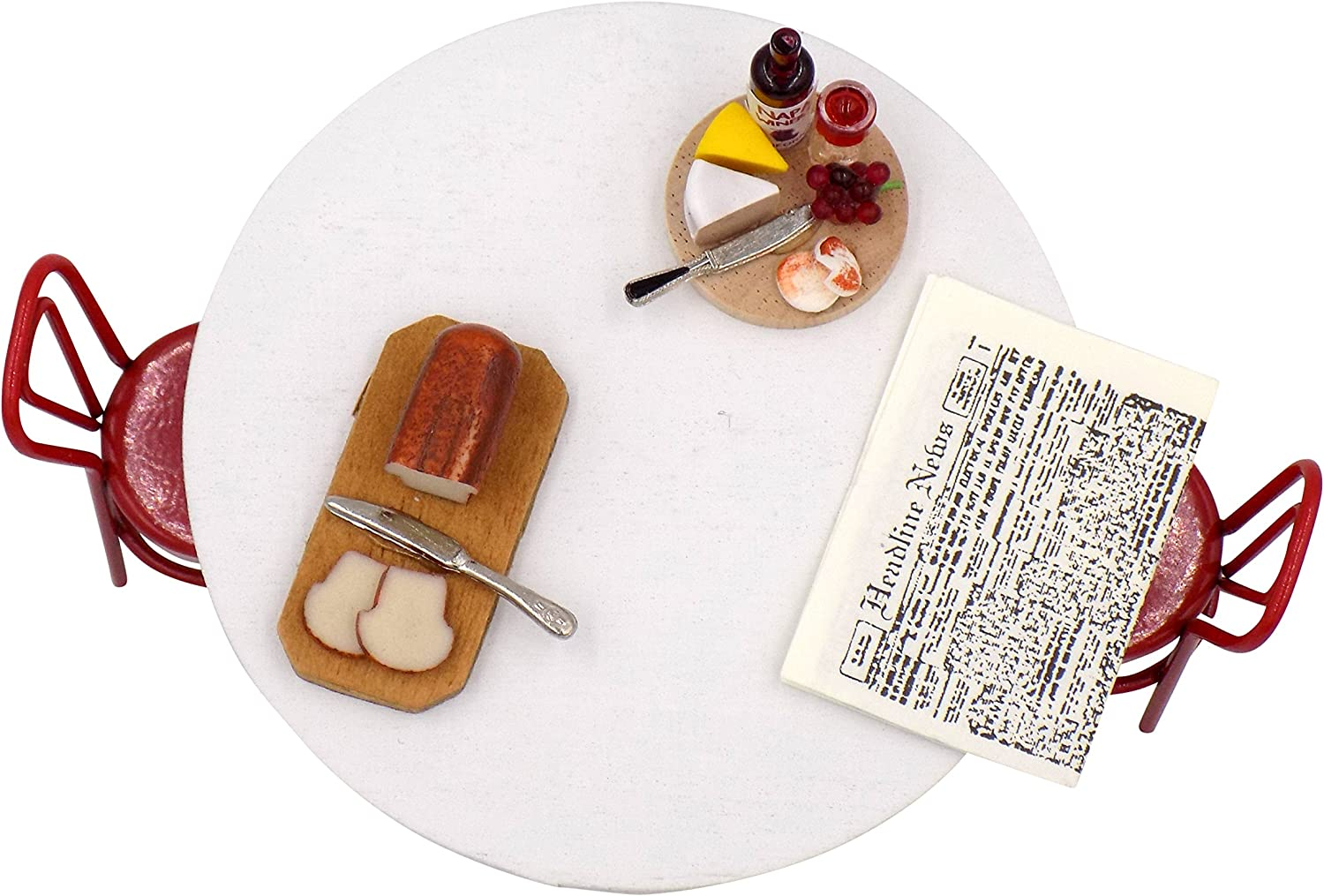 Bread Board Wine /& Cheese Plate /& Mini Newspaper Bundle for Fairy Gardens /& Doll Houses Collectibles and Video Miniature Dollhouse Furniture Round Table 2 Timeless Minis Miniatures Chair