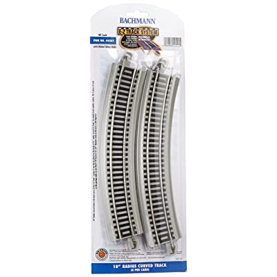"Bachmann Trains - Snap-Fit E-Z TRACK 18"" RADIUS CURVED TRACK (4/card) - NICKEL SILVER Rail With Gray Roadbed - HO Scale: Toys & Games"